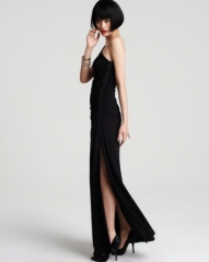 Laundry by Shelli Segal One-Shoulder Gown with Beaded Side at Bloomingdales