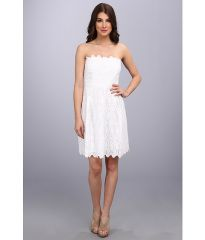 Laundry by Shelli Segal Strapless Eyelet Dress Graduation Optic White at 6pm