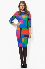 Lauren Ralph Lauren Colorblock Crewneck Dress at Nordstrom