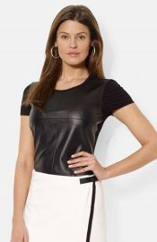 Lauren Ralph Lauren Faux Leather Front Crewneck Tee at Nordstrom