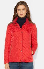 Lauren Ralph Lauren Faux Leather Trim Quilted Jacket at Nordstrom