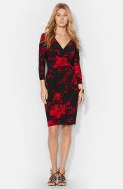 Lauren Ralph Lauren Floral Print Faux Wrap Jersey Dress  Plus Size at Nordstrom
