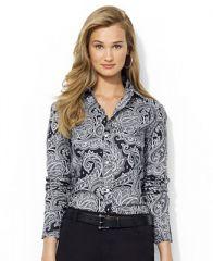 Lauren Ralph Lauren Long-Sleeve Paisley Dress Shirt - Tops - Women - Macys at Macys