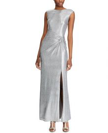 Lauren Ralph Lauren Metallic Sleeveless Side-Slit Gown   Reviews - Dresses - Women - Macy s at Macys