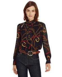 Lauren Ralph Lauren Print Georgette Tie-Neck Top    Reviews - Tops - Women - Macy s at Macys