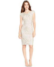 Lauren Ralph Lauren Ruched Metallic Sheath Dress at Macys