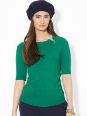 Lauren Ralph Lauren Zip Shoulder Sweater in green at Bloomingdales