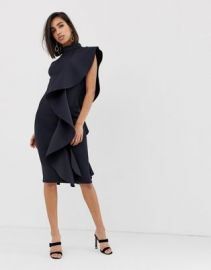 Lavish Alice asymmetric draped high neck frill midi scuba dress in navy   ASOS at Asos