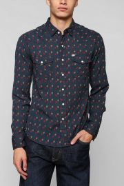 Lawrence Dobby Shirt by Salt Valley in navy at Urban Outfitters