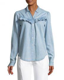 Layda Snap-Front Chambray Shirt w/ Ruffled Trim at Bergdorf Goodman