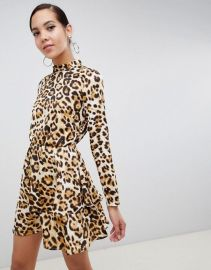 Layered Mini Dress in Leopard Print by Missguided at ASOS at ASOS