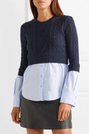Layered cable-knit wool and cotton-poplin sweater at Net A Porter