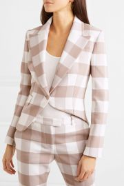 Lazio asymmetric gingham wool-blend twill blazer at Net A Porter