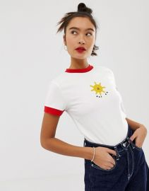 Lazy Oaf fitted ringer tee with not ok sun embroidery   ASOS at Asos