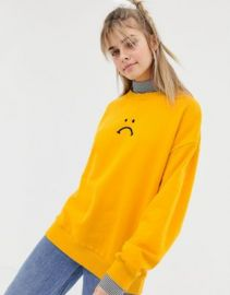 Lazy Oaf oversized sweatshirt with striped high neck detail   ASOS at Asos