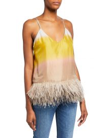 Le Superbe Coppertone Ostrich Feathers Colorblock Cami at Neiman Marcus