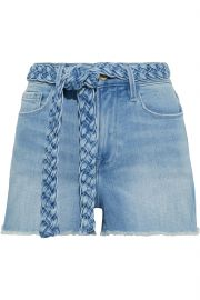 Le Cutoff belted frayed denim shorts at The Outnet