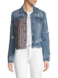 Lea  amp  Viola - Distressed Cropped Denim Jacket at Saks Off 5th