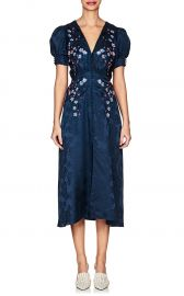 Lea Floral-Embroidered Silk Dress  Saloni at Barneys