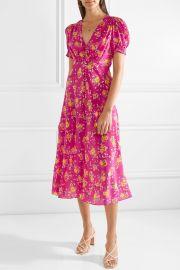 Lea Silk Midi Dress by Saloni at Net A Porter