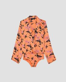 Leaf Print Bodysuit by Zara at Zara
