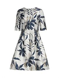 Leaf-Print Jacquard Dress by Teri Jon by Rickie Freeman at Saks Fifth Avenue