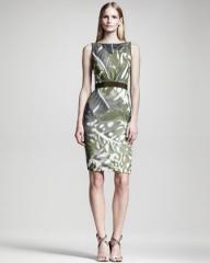 Leaf print linen dress by Giambattista Valli at Neiman Marcus