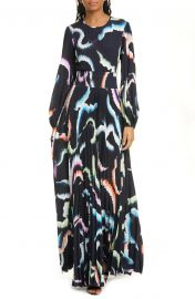 Leah Pleated Long Sleeve Maxi Dress at Nordstrom