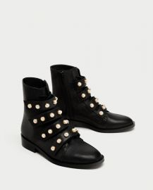 Leather Ankle Boots with Faux Pearls at Zara