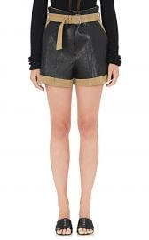 Leather-Appliquéd Linen-Cotton Shorts at Barneys Warehouse