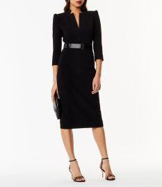 Leather Belt Pencil Dress at Karen Millen