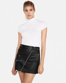 Leather Belted Mini Skirt at Express