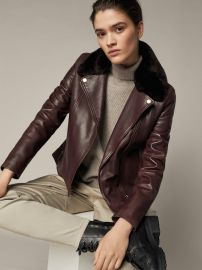 Leather Biker Jacket with Detachable Collar at Massimo Dutti