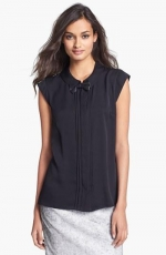 Leather Bow Tie Top by Milly at Nordstrom