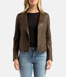 Leather Cross Front Olive Wood Jacket by Vince at Calexico