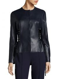 Leather Jacket with Lace-Up Sides at Last Call