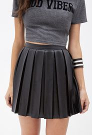 Leather Pleated Skirt at Forever 21
