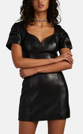 Leather Puff-Sleeve Minidress by Area at Barneys