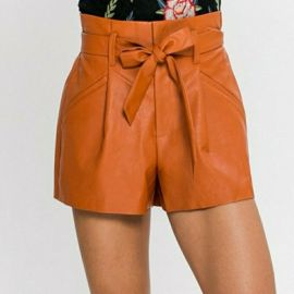 Leather Shorts Tie Waist Skirt by Jealous Tomato at Amazon