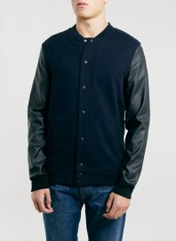 Leather Sleeve Bomber Jacket at Topman