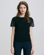 Leather Sleeve tee by Vince at Neiman Marcus