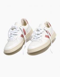 Leather V-10 Lace-Up Sneakers in White with Metallic Pink Accents at Madewell
