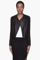 Leather and Jersey jacket by Helmut Lang at SSENSE