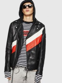 Leather and nylon biker jacket at Diesel