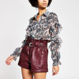 Leather belted shorts at River Island