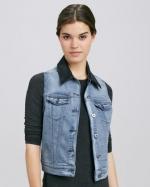 Leather collar denim vest at Neiman Marcus at Neiman Marcus