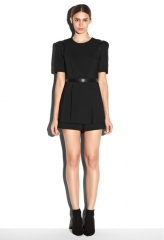 Leather detail jumper in Black at Milly