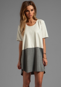 Leather front tee dress  at Revolve