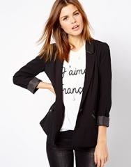 Leather lapel blazer by A Wear at Asos