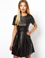 Leather look dress by ASOS at Asos